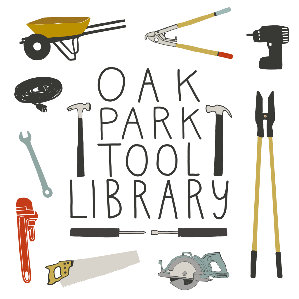 Oak Park Tool Library text surrounded by illustrations of various tools