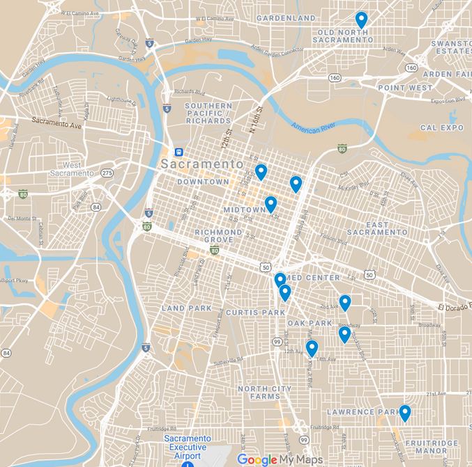 Map of Sacramento with pins indicating the locations of cooling stations across the region